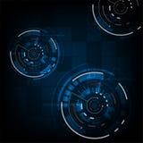 Διανυσματικό υπόβαθρο στην έννοια τεχνολογίας στο σκούρο μπλε υπόβαθρο Στοκ εικόνες με δικαίωμα ελεύθερης χρήσης