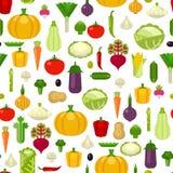 Διανυσματικό υπόβαθρο σχεδίων λαχανικών άνευ ραφής Στοκ Φωτογραφίες