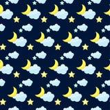 Διανυσματικό υπόβαθρο σχεδίων με το φωτεινό χρωματισμένο φεγγάρι κινούμενων σχεδίων, clou Στοκ φωτογραφίες με δικαίωμα ελεύθερης χρήσης