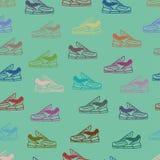 Διανυσματικό υπόβαθρο σχεδίων παπουτσιών άνευ ραφής Στοκ Φωτογραφία