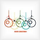 Διανυσματικό υπόβαθρο τέχνης γραμμών σφαιρών Χριστουγέννων Στοκ Φωτογραφίες