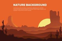 Διανυσματικό υπόβαθρο της ερήμου, που αποτελείται από τον ήλιο, την άμμο, τα βουνά και τον κάκτο ελεύθερη απεικόνιση δικαιώματος