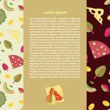 Διανυσματικό υπόβαθρο των καλυμμάτων για την πίτσα σε ένα επίπεδο ύφος Στοκ εικόνες με δικαίωμα ελεύθερης χρήσης