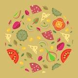 Διανυσματικό υπόβαθρο των καλυμμάτων πιτσών για να διαμορφώσει έναν κύκλο σε ένα επίπεδο ύφος Στοκ Εικόνα