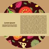 Διανυσματικό υπόβαθρο υπό μορφή σειράς των καλυμμάτων για τις πίτσες στο επίπεδο ύφος Στοκ εικόνες με δικαίωμα ελεύθερης χρήσης