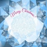 Διανυσματικό υπόβαθρο Χριστουγέννων με τα μπλε τρίγωνα Στοκ Φωτογραφία