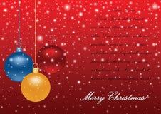 Διανυσματικό υπόβαθρο Χριστουγέννων με τις στιλπνές σφαίρες Στοκ Φωτογραφία