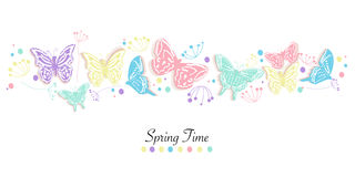 Διανυσματικό υπόβαθρο χρονικών εμβλημάτων πεταλούδων και άνοιξη λουλουδιών αφηρημένο Στοκ Εικόνες