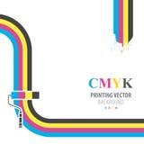 Διανυσματικό υπόβαθρο CMYK Η τυπωμένη ύλη χρωματίζει τον κύλινδρο χρωμάτων διανυσματική απεικόνιση