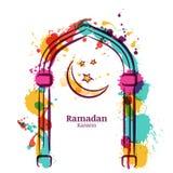 Διανυσματικό υπόβαθρο watercolor του Kareem Ramadan με το ζωηρόχρωμο φεγγάρι και αστέρια στο παράθυρο Στοκ Εικόνες