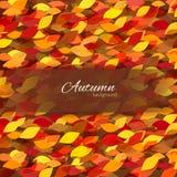Διανυσματικό φθινοπωρινό υπόβαθρο με τα ζωηρόχρωμα φύλλα Διανυσματική απεικόνιση