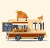 Διανυσματικό φορτηγό τροφίμων με την απεικόνιση κοτόπουλου Στοκ Εικόνες