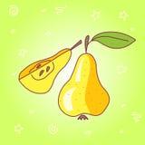 Διανυσματικό φρέσκο αχλάδι αποθεμάτων doodle Στοκ Φωτογραφία