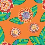 Διανυσματικό φωτεινό άνευ ραφής σχέδιο με τα λουλούδια doodle Στοκ Φωτογραφίες