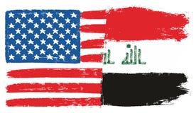 Διανυσματικό χέρι σημαιών των Ηνωμένων Πολιτειών της Αμερικής & σημαιών του Ιράκ που χρωματίζεται με τη στρογγυλευμένη βούρτσα Στοκ εικόνα με δικαίωμα ελεύθερης χρήσης