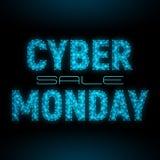 Διανυσματικό χαμηλός-πολυ πρότυπο εμβλημάτων πώλησης Δευτέρας Cyber Στοκ Φωτογραφία