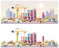 Διανυσματικό χαμηλό πολυ εργοτάξιο οικοδομής ελεύθερη απεικόνιση δικαιώματος