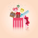 Διανυσματικό χαριτωμένο κιβώτιο δώρων για τον εορτασμό απεικόνιση αποθεμάτων