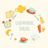 Διανυσματικό χαριτωμένο πλαίσιο προγευμάτων πρωινού στοκ φωτογραφία