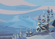 Διανυσματικό χειμερινό τοπίο με τα βουνά και τα δέντρα πάγου Στοκ Φωτογραφίες