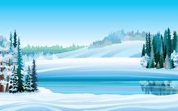 Διανυσματικό χειμερινό τοπίο με τη λίμνη και το δάσος Στοκ Φωτογραφίες