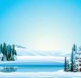 Διανυσματικό χειμερινό τοπίο Στοκ Εικόνες