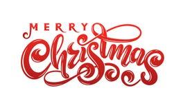 Διανυσματικό χειρόγραφο διακοσμημένο γράφοντας κόκκινο κείμενο επιγραφής Χαρούμενα Χριστούγεννας καλλιγραφικό Ευχετήρια κάρτα σχε ελεύθερη απεικόνιση δικαιώματος