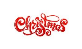 Διανυσματικό χειρόγραφο διακοσμημένο γράφοντας κόκκινο κείμενο επιγραφής Χαρούμενα Χριστούγεννας καλλιγραφικό Ευχετήρια κάρτα σχε διανυσματική απεικόνιση