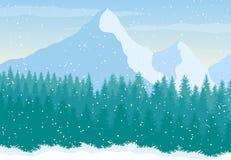 Διανυσματικό χιονώδες τοπίο βουνών με το δάσος πεύκων ελεύθερη απεικόνιση δικαιώματος