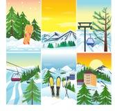 Διανυσματικό χιόνι χειμερινών τοπίων και σπίτι και δέντρο δέντρων Εκλεκτής ποιότητας όμορφη φύση ταπετσαριών βουνών παγωμένη σνόο Στοκ Εικόνες