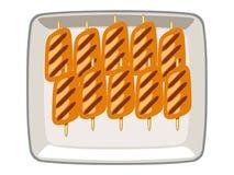 Διανυσματικό χοιρινό κρέας που ψήνεται σε ένα πιάτο σε ένα άσπρο υπόβαθρο ελεύθερη απεικόνιση δικαιώματος