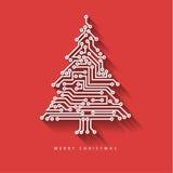 Διανυσματικό χριστουγεννιάτικο δέντρο από το ψηφιακό ηλεκτρονικό κύκλωμα ελεύθερη απεικόνιση δικαιώματος