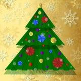 Διανυσματικό χριστουγεννιάτικο δέντρο εγγράφου, που διακοσμείται με τα εορταστικά μπαλόνια εγγράφου, snowflakes Στοκ Εικόνες