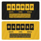Διανυσματικό χρονόμετρο πώλησης παρουσίασης γεγονότος Οι κίτρινοι μαύροι αριθμοί αντιμετωπίζουν το έμβλημα προτύπων, όλα τα ψηφία ελεύθερη απεικόνιση δικαιώματος