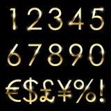 Διανυσματικό χρυσό λαμπρό καθορισμένο νόμισμα πηγών, αριθμοί και ειδικά σύμβολα ελεύθερη απεικόνιση δικαιώματος