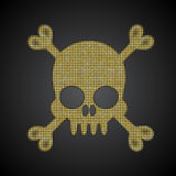 Διανυσματικό χρυσό κρανίο διαθέσιμο διάνυσμα ύφους πειρατών γυαλιού σημαιών Αντικείμενο τσεκιών Στοκ φωτογραφία με δικαίωμα ελεύθερης χρήσης