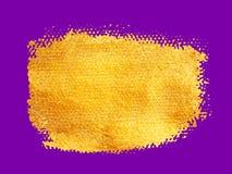 Διανυσματικό χρυσό κτύπημα βουρτσών Λεκές χρωμάτων σύστασης Watercolor που απομονώνεται στο λευκό Αφηρημένο χρωματισμένο χέρι υπό Στοκ Φωτογραφία