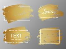Διανυσματικό χρυσό κτύπημα χρωμάτων με το πλαίσιο συνόρων Βρώμικο καλλιτεχνικό desig ελεύθερη απεικόνιση δικαιώματος