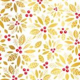 Διανυσματικό χρυσό κόκκινο ελαιόπρινου μούρων υπόβαθρο σχεδίων διακοπών άνευ ραφής Μεγάλος για το χειμώνα η συσκευασία, giftwrap, Στοκ Φωτογραφία
