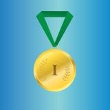 Διανυσματικό χρυσό μετάλλιο στην πράσινη κορδέλλα Στοκ Φωτογραφία