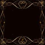 Διανυσματικό χρυσό πλαίσιο με τα αποτελέσματα φω'των Λάμποντας έμβλημα ορθογωνίων Στη μαύρη ανασκόπηση Διανυσματική απεικόνιση, e Στοκ εικόνες με δικαίωμα ελεύθερης χρήσης