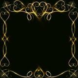 Διανυσματικό χρυσό πλαίσιο με τα αποτελέσματα φω'των Λάμποντας έμβλημα ορθογωνίων Στη μαύρη ανασκόπηση Διανυσματική απεικόνιση, e Στοκ Εικόνα