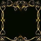 Διανυσματικό χρυσό πλαίσιο με τα αποτελέσματα φω'των Λάμποντας έμβλημα ορθογωνίων Στη μαύρη ανασκόπηση Διανυσματική απεικόνιση, e Στοκ Φωτογραφίες