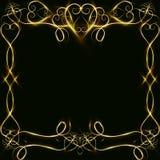 Διανυσματικό χρυσό πλαίσιο με τα αποτελέσματα φω'των Λάμποντας έμβλημα ορθογωνίων Στη μαύρη ανασκόπηση Διανυσματική απεικόνιση, e Στοκ φωτογραφία με δικαίωμα ελεύθερης χρήσης