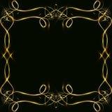 Διανυσματικό χρυσό πλαίσιο με τα αποτελέσματα φω'των Λάμποντας έμβλημα ορθογωνίων Στη μαύρη ανασκόπηση Διανυσματική απεικόνιση, e Στοκ Εικόνες