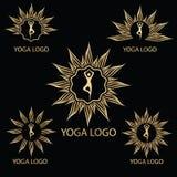 Διανυσματικό χρυσό πρότυπο λογότυπων Lotus διανυσματική απεικόνιση