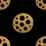 Διανυσματικό χρυσό συρμένο χέρι εθνικό φυλετικό στοιχείο που απομονώνεται στο μαύρο υπόβαθρο χρυσό πρότυπο άνευ ραφής Στοκ εικόνα με δικαίωμα ελεύθερης χρήσης