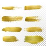 Διανυσματικό χρυσό σύνολο λεκέδων κτυπήματος κηλίδων χρωμάτων Στοκ φωτογραφία με δικαίωμα ελεύθερης χρήσης