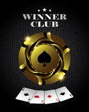 Διανυσματικό χρυσό τσιπ πόκερ χαρτοπαικτικών λεσχών, πρότυπο προτύπων για τα υπόβαθρα, τις κάρτες και τα εμβλήματα σχεδίου illust Στοκ Εικόνα