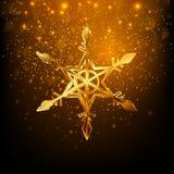 Διανυσματικό χρυσό snowflake Χαρούμενα Χριστούγεννα και σχέδιο καλής χρονιάς Στοκ εικόνες με δικαίωμα ελεύθερης χρήσης